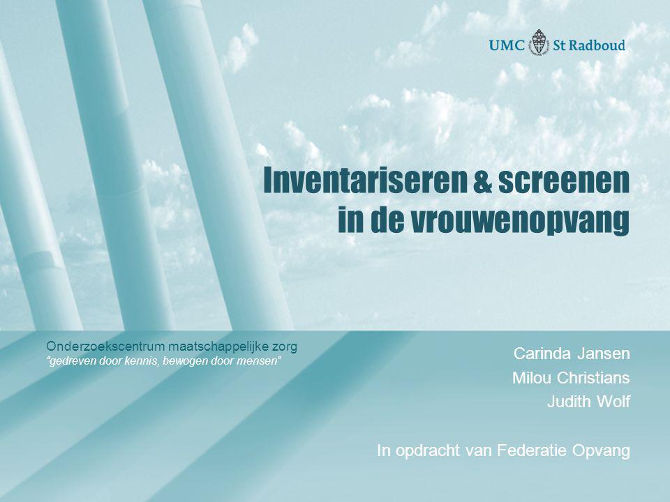 Inventariseren & screenen in de vrouwenopvang