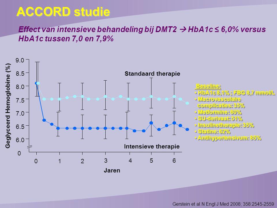 ACCORD studie Effect van intensieve behandeling bij DMT2  HbA1c ≤ 6,0% versus HbA1c tussen 7,0 en 7,9%