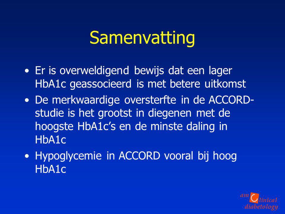 Samenvatting Er is overweldigend bewijs dat een lager HbA1c geassocieerd is met betere uitkomst.