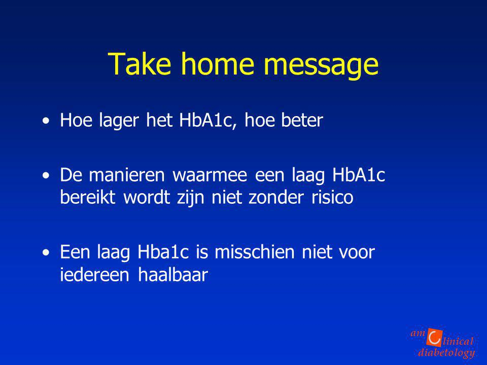 Take home message Hoe lager het HbA1c, hoe beter