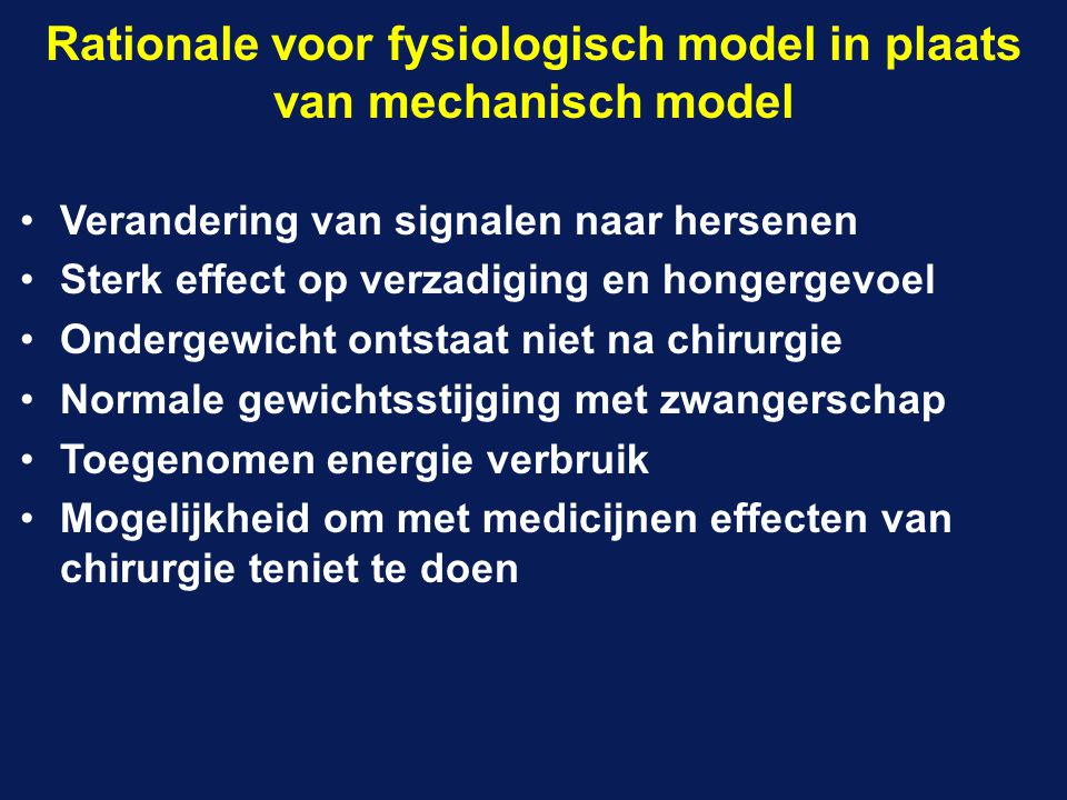 Rationale voor fysiologisch model in plaats van mechanisch model
