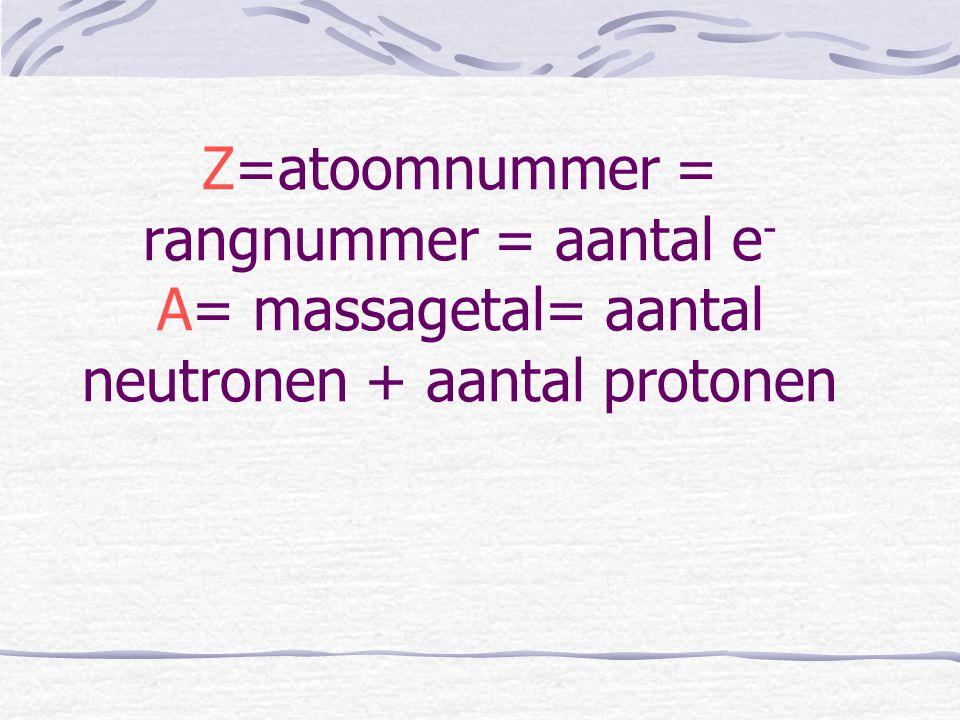 Z=atoomnummer = rangnummer = aantal e- A= massagetal= aantal neutronen + aantal protonen