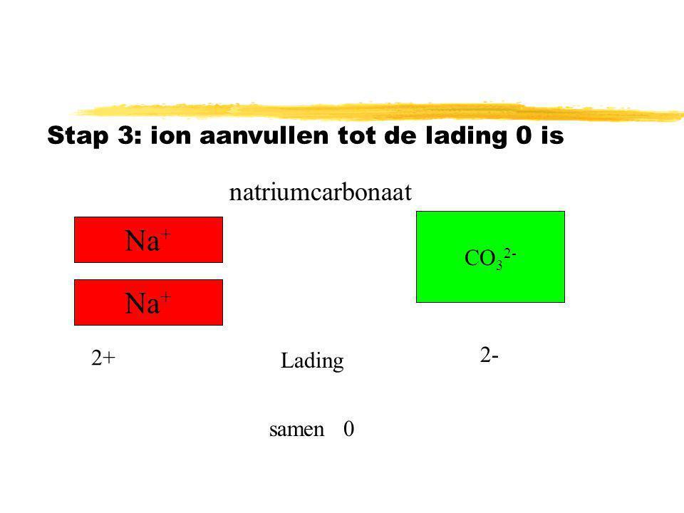 Na+ Na+ natriumcarbonaat Stap 3: ion aanvullen tot de lading 0 is