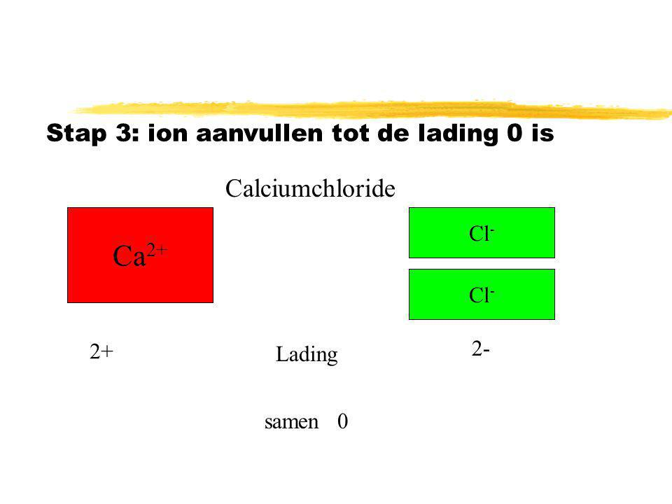 Ca2+ Calciumchloride Stap 3: ion aanvullen tot de lading 0 is Cl- Cl-