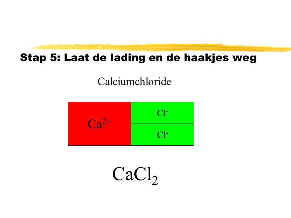 CaCl2 Ca2+ Calciumchloride Stap 5: Laat de lading en de haakjes weg
