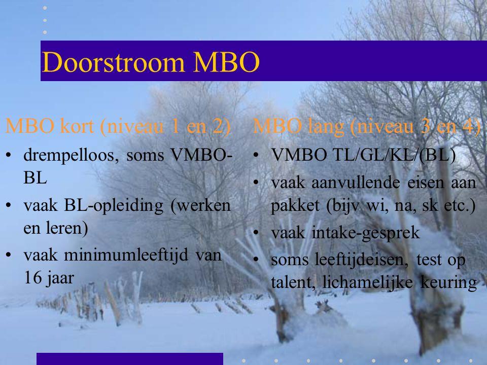 Doorstroom MBO MBO kort (niveau 1 en 2) MBO lang (niveau 3 en 4)
