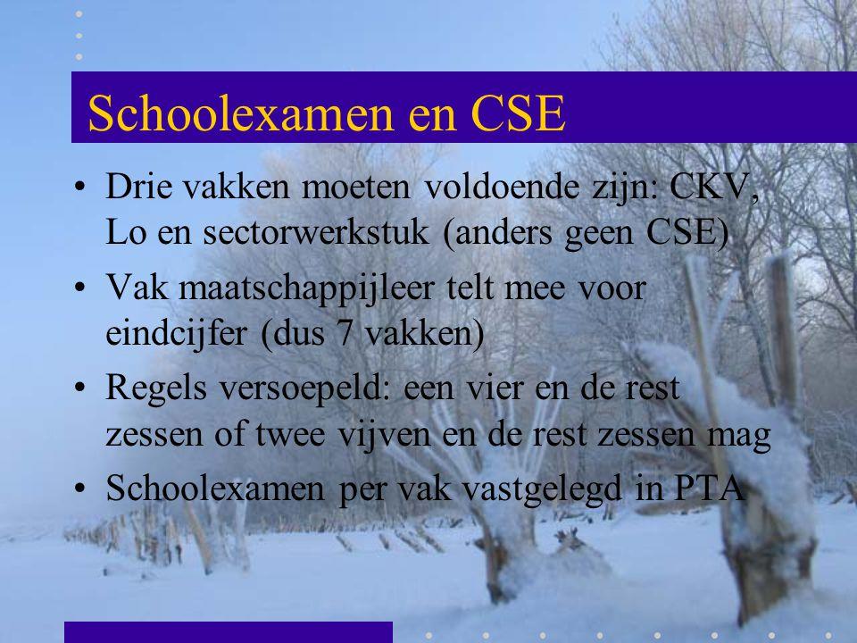 Schoolexamen en CSE Drie vakken moeten voldoende zijn: CKV, Lo en sectorwerkstuk (anders geen CSE)