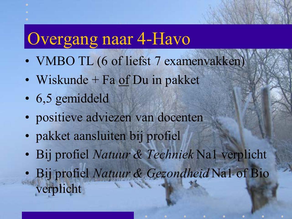 Overgang naar 4-Havo VMBO TL (6 of liefst 7 examenvakken)