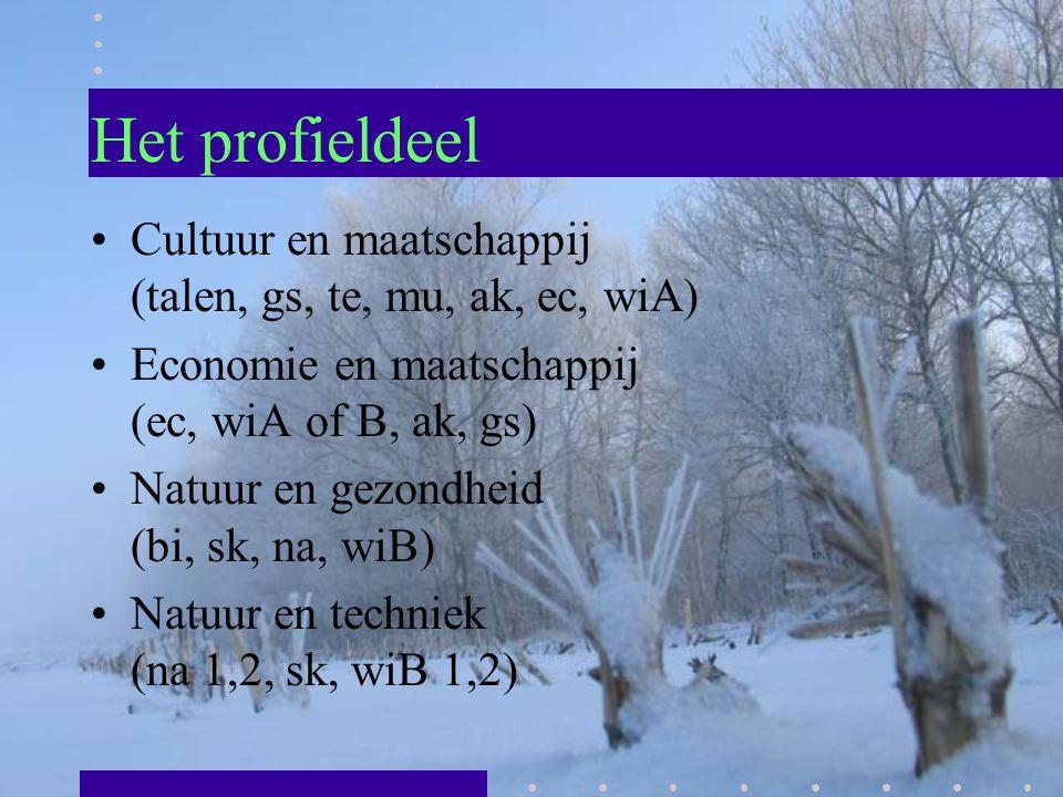 Het profieldeel Cultuur en maatschappij (talen, gs, te, mu, ak, ec, wiA) Economie en maatschappij (ec, wiA of B, ak, gs)