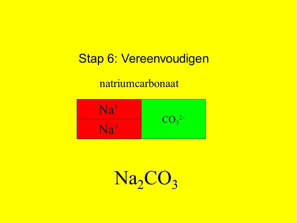 Stap 6: Vereenvoudigen natriumcarbonaat Na+ CO32- Na+ Na2CO3