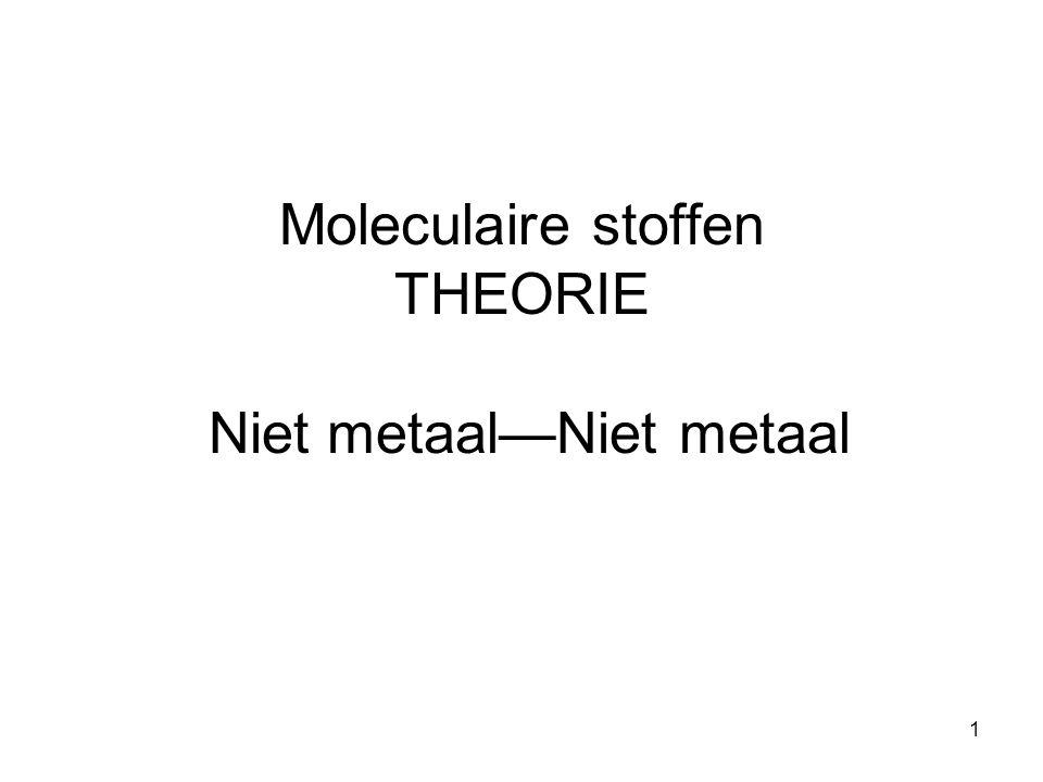 Moleculaire stoffen THEORIE Niet metaal—Niet metaal