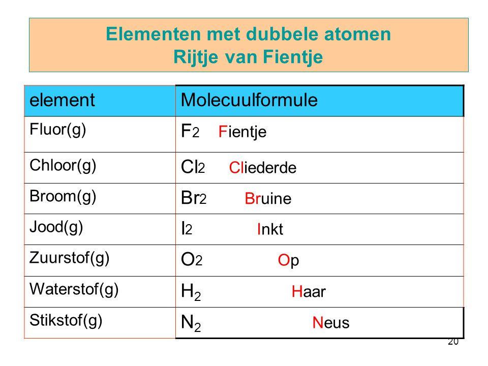 Elementen met dubbele atomen Rijtje van Fientje