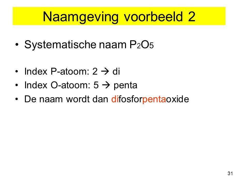 Naamgeving voorbeeld 2 Systematische naam P2O5 Index P-atoom: 2  di