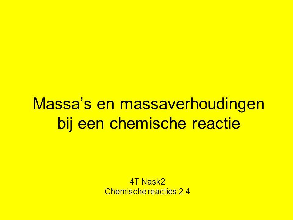 Massa's en massaverhoudingen bij een chemische reactie