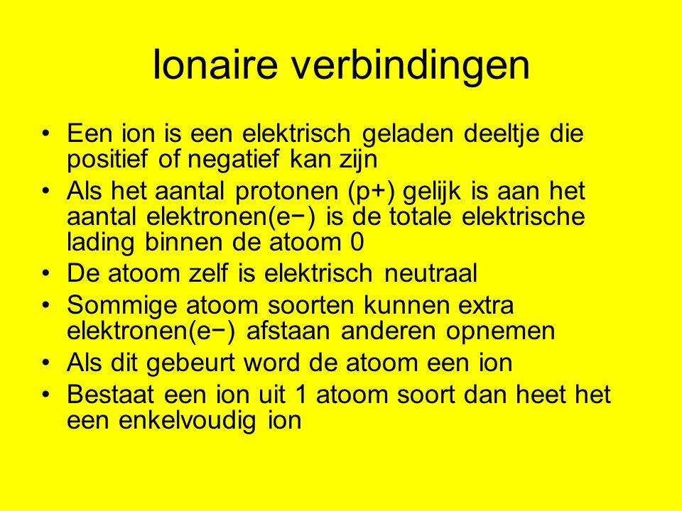 Ionaire verbindingen Een ion is een elektrisch geladen deeltje die positief of negatief kan zijn.