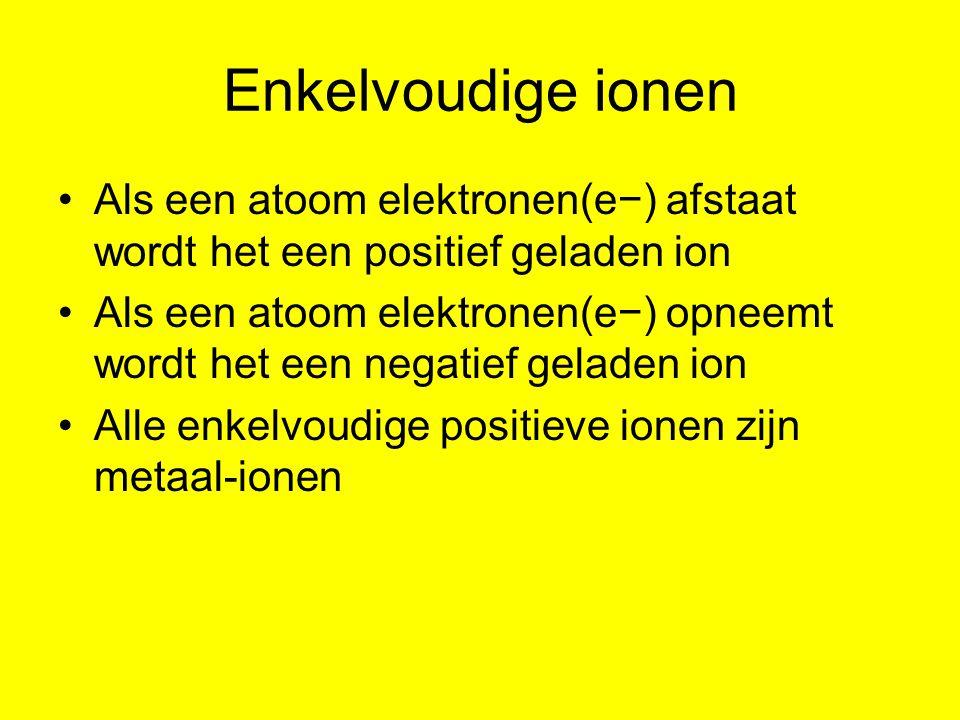 Enkelvoudige ionen Als een atoom elektronen(e−) afstaat wordt het een positief geladen ion.