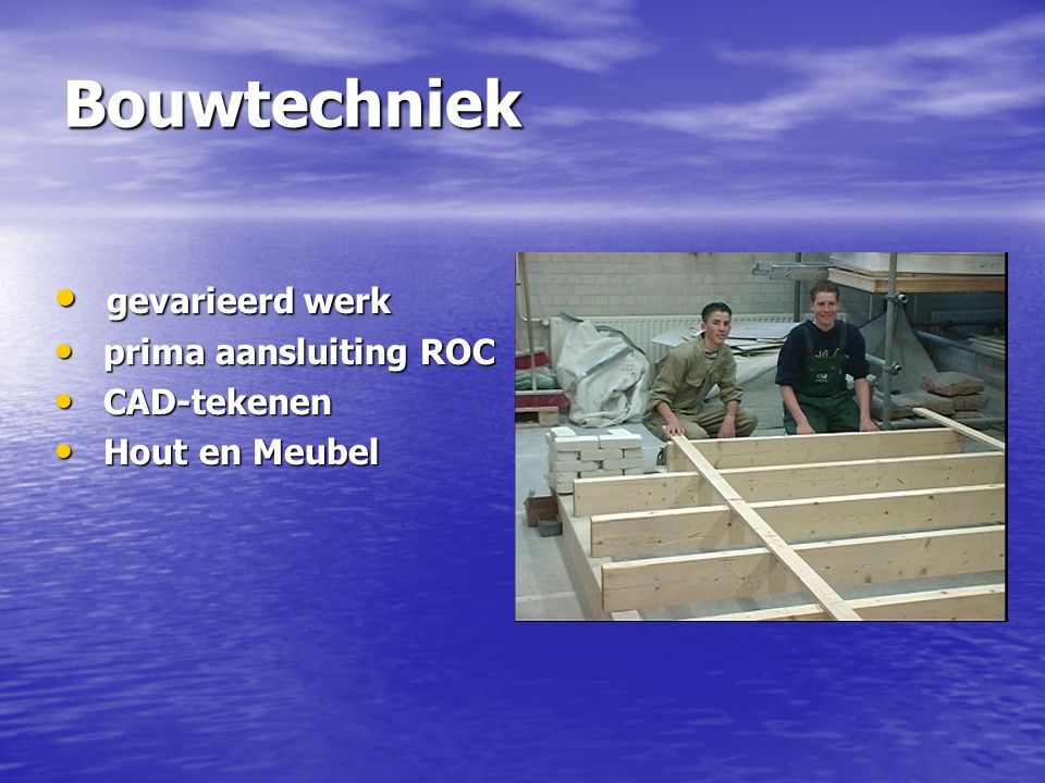 Bouwtechniek gevarieerd werk prima aansluiting ROC CAD-tekenen