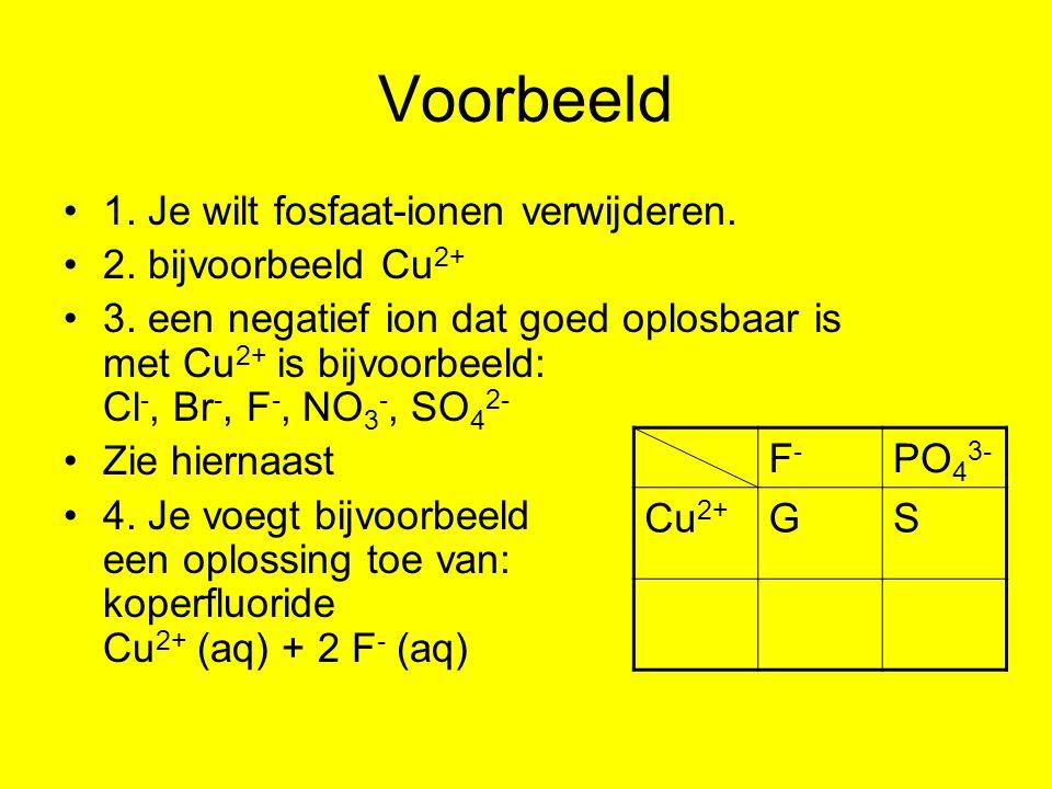 Voorbeeld 1. Je wilt fosfaat-ionen verwijderen. 2. bijvoorbeeld Cu2+