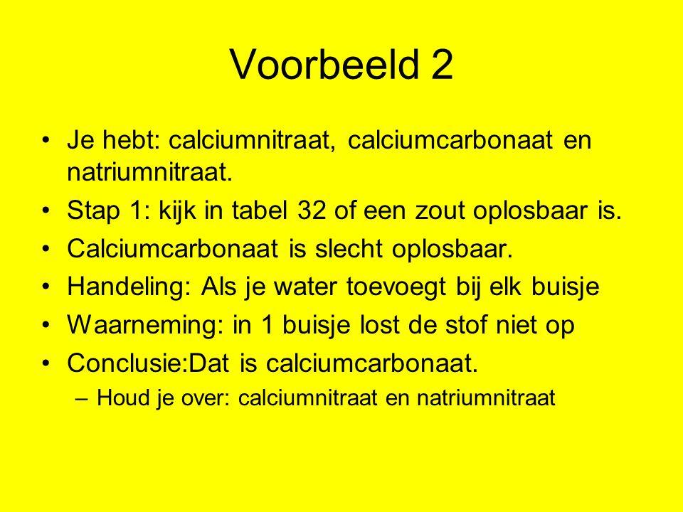 Voorbeeld 2 Je hebt: calciumnitraat, calciumcarbonaat en natriumnitraat. Stap 1: kijk in tabel 32 of een zout oplosbaar is.