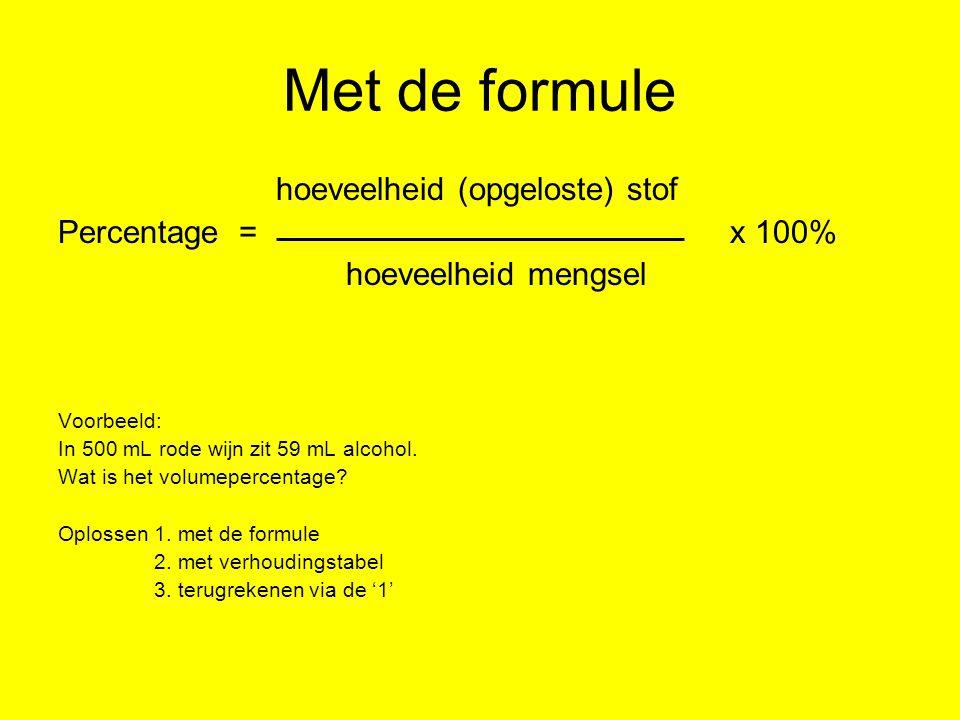 Met de formule hoeveelheid (opgeloste) stof Percentage = x 100%