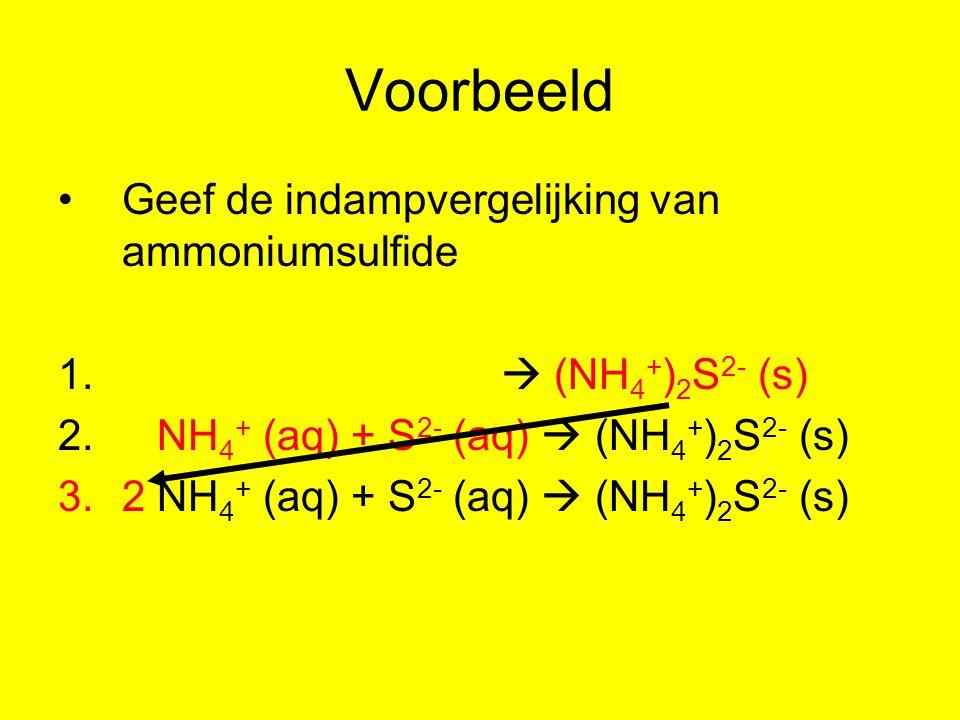 Voorbeeld Geef de indampvergelijking van ammoniumsulfide