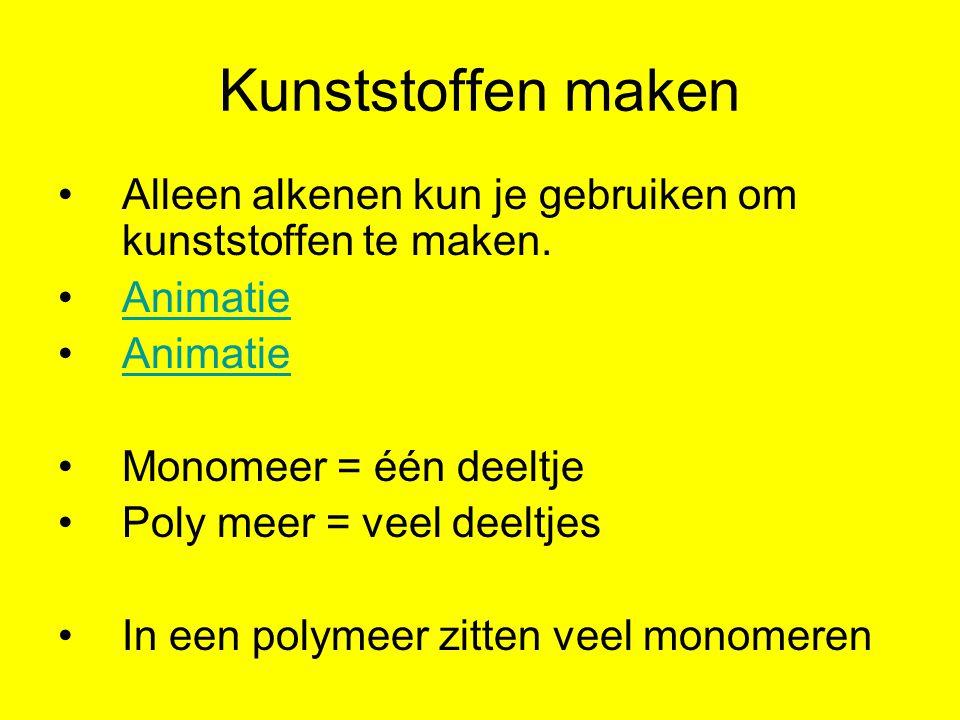 Kunststoffen maken Alleen alkenen kun je gebruiken om kunststoffen te maken. Animatie. Monomeer = één deeltje.