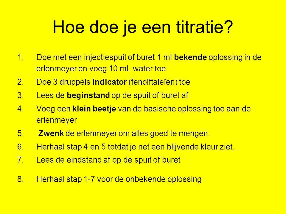 Hoe doe je een titratie Doe met een injectiespuit of buret 1 ml bekende oplossing in de erlenmeyer en voeg 10 mL water toe.