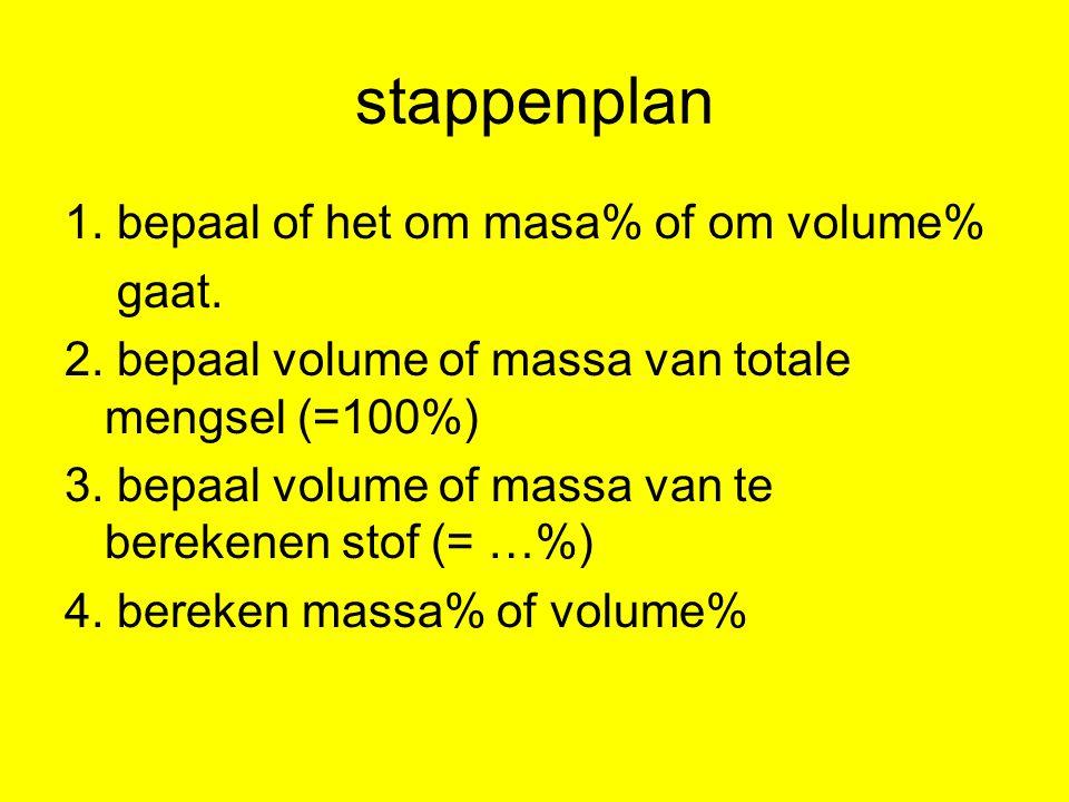 stappenplan 1. bepaal of het om masa% of om volume% gaat.