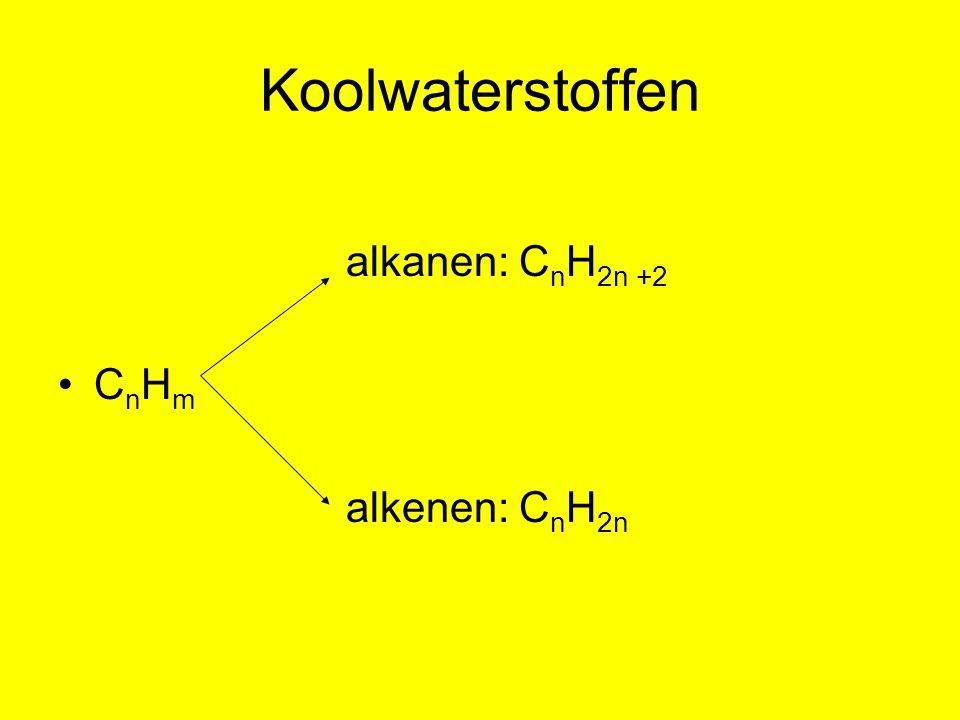 Koolwaterstoffen alkanen: CnH2n +2 CnHm alkenen: CnH2n