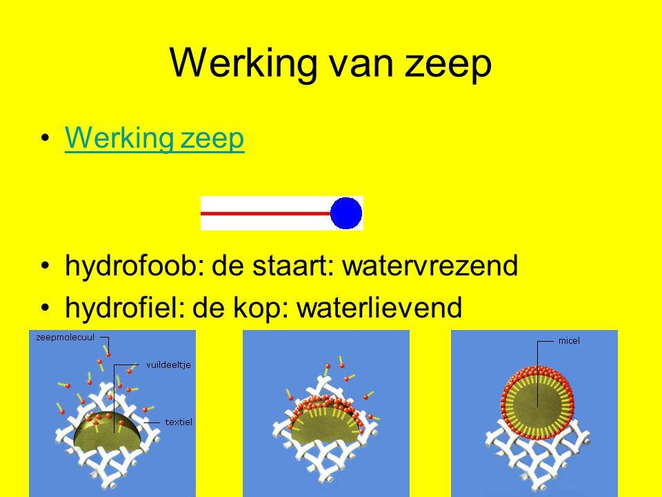 Werking van zeep Werking zeep hydrofoob: de staart: watervrezend