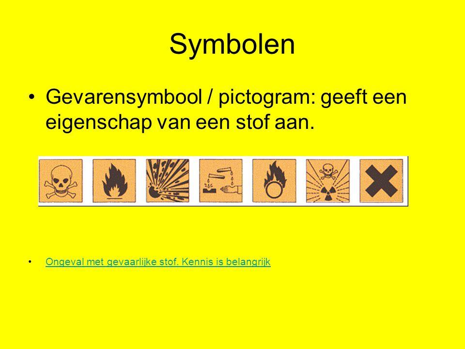 Symbolen Gevarensymbool / pictogram: geeft een eigenschap van een stof aan.