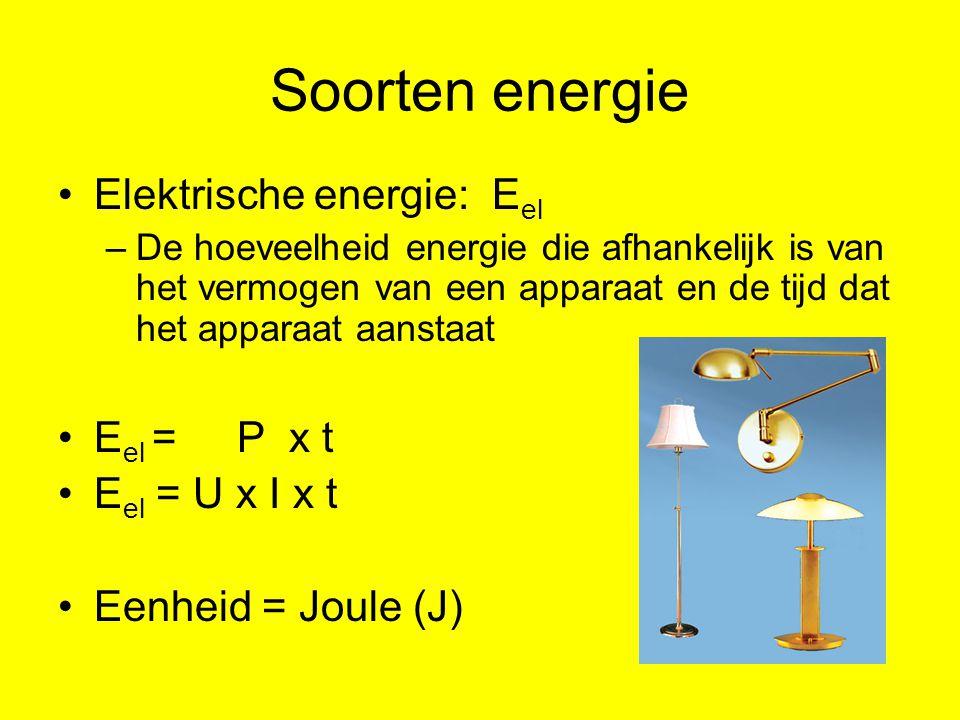 Soorten energie Elektrische energie: Eel Eel = P x t Eel = U x I x t