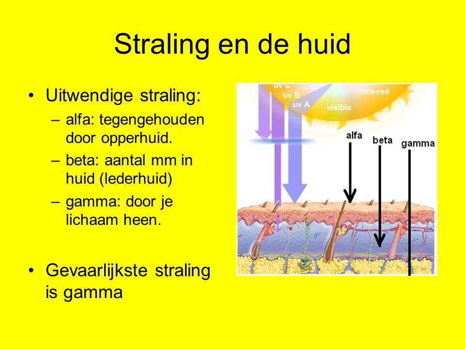 Straling en de huid Uitwendige straling: