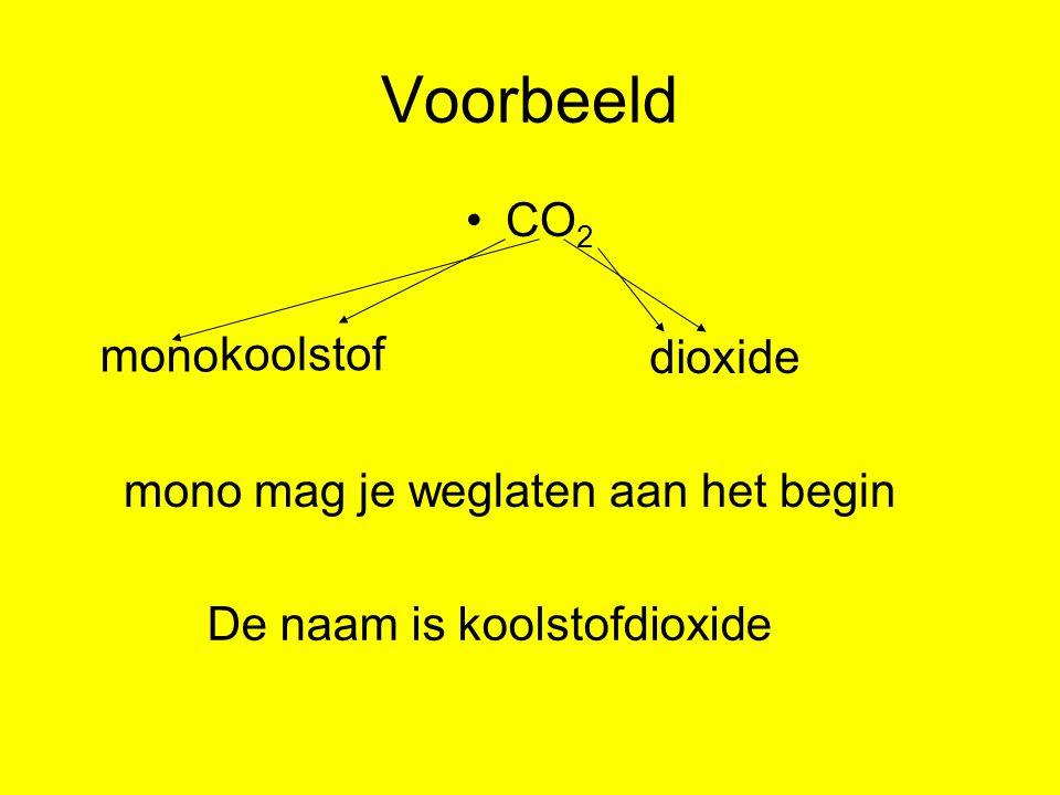Voorbeeld CO2 mono koolstof di oxide