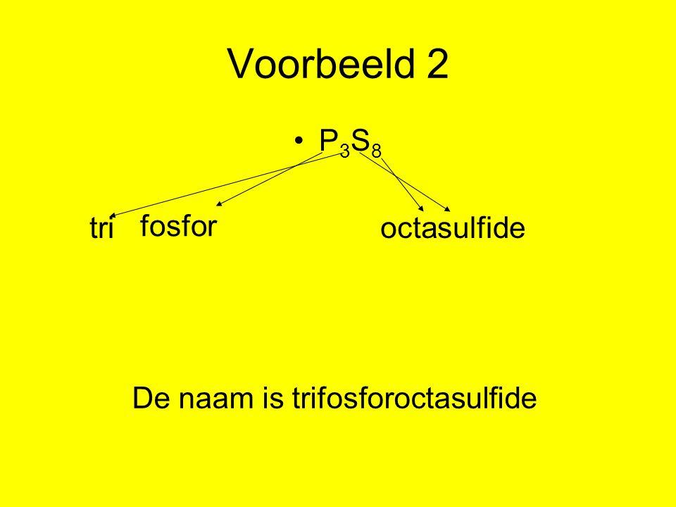 Voorbeeld 2 P3S8 tri fosfor octa sulfide