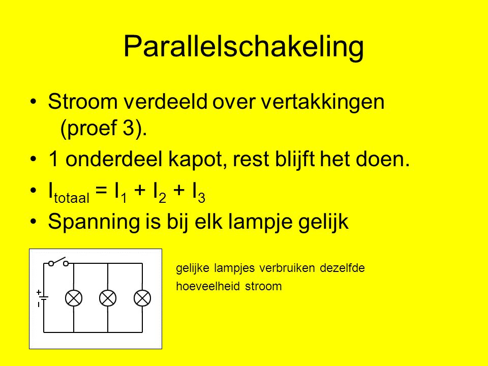 Parallelschakeling Stroom verdeeld over vertakkingen (proef 3).