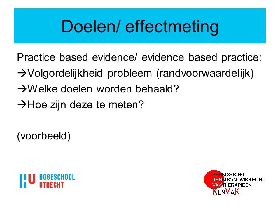 Doelen/ effectmeting Practice based evidence/ evidence based practice: