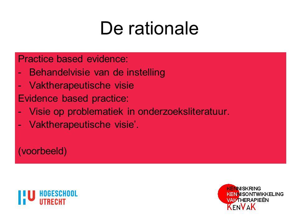 De rationale Practice based evidence: Behandelvisie van de instelling