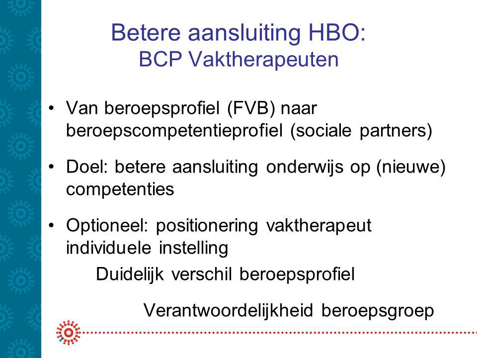 Betere aansluiting HBO: BCP Vaktherapeuten