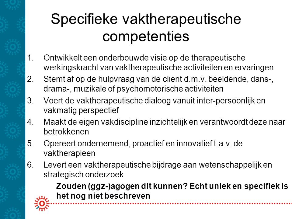 Specifieke vaktherapeutische competenties