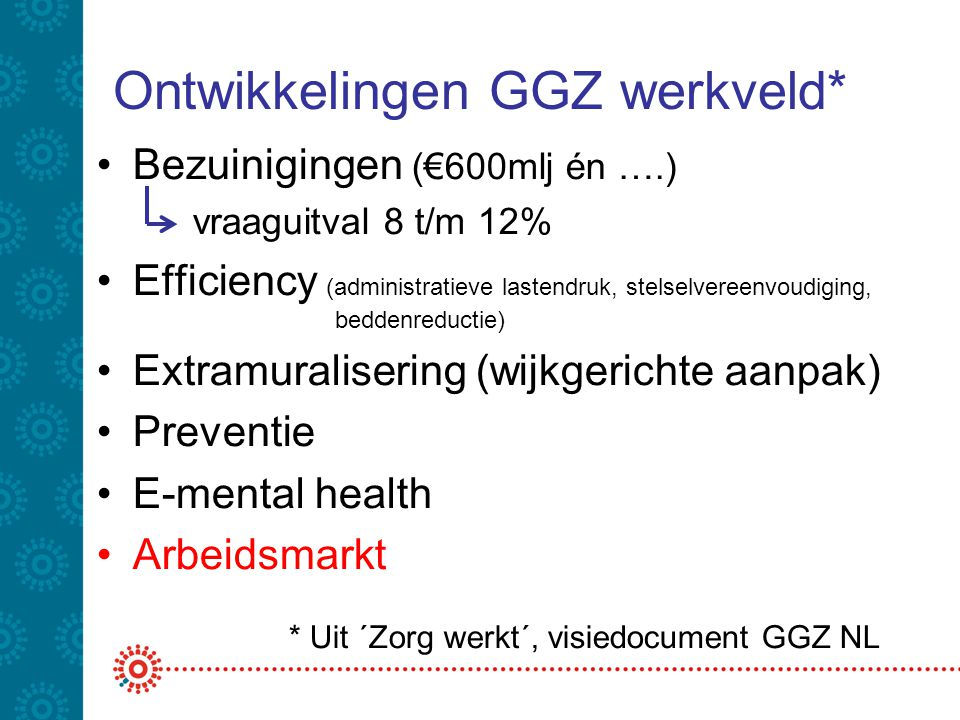 Ontwikkelingen GGZ werkveld*