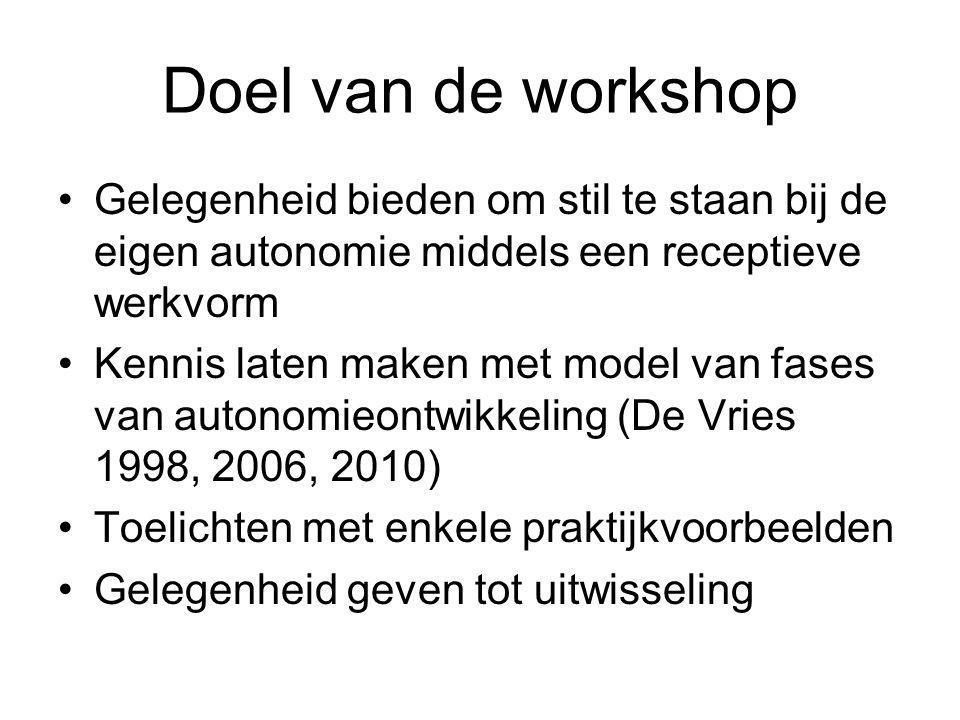 Doel van de workshop Gelegenheid bieden om stil te staan bij de eigen autonomie middels een receptieve werkvorm.