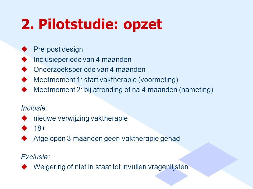 2. Pilotstudie: opzet Pre-post design Inclusieperiode van 4 maanden