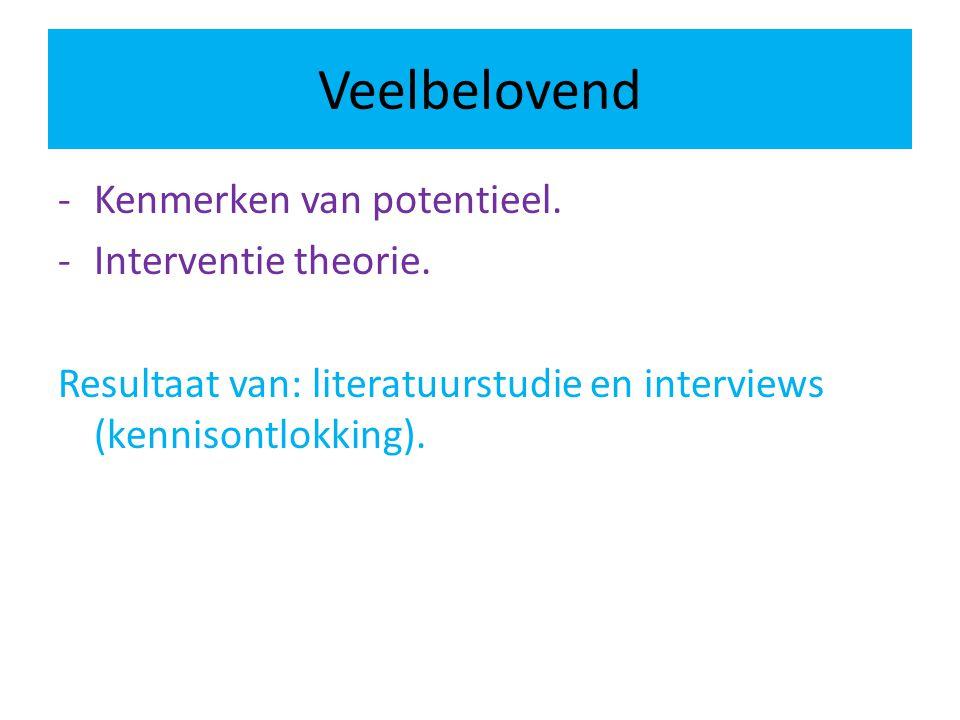 Veelbelovend Kenmerken van potentieel. Interventie theorie.