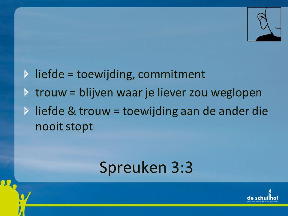 Spreuken 3:3 liefde = toewijding, commitment