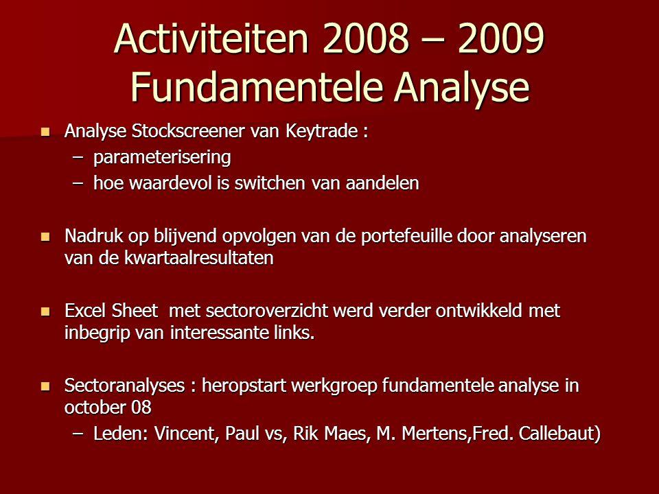 Activiteiten 2008 – 2009 Fundamentele Analyse