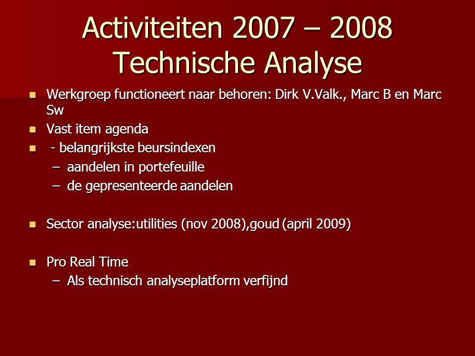 Activiteiten 2007 – 2008 Technische Analyse