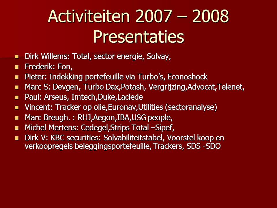 Activiteiten 2007 – 2008 Presentaties
