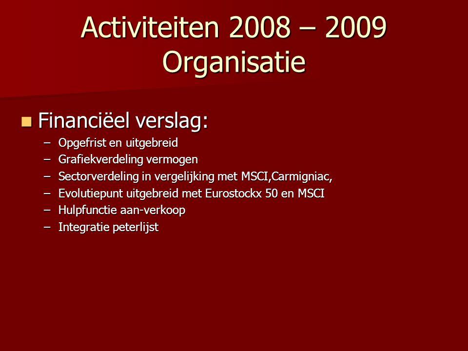 Activiteiten 2008 – 2009 Organisatie
