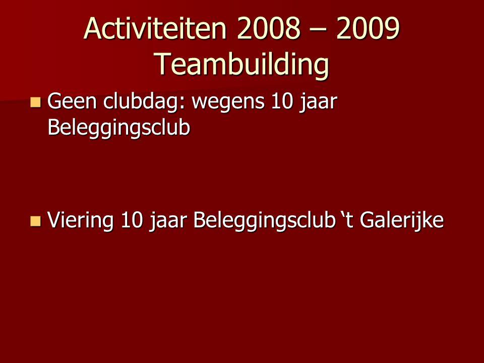 Activiteiten 2008 – 2009 Teambuilding